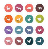 Farm animals icons set. — Stock Vector
