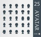 Set of 25 people avatar  icons — Cтоковый вектор