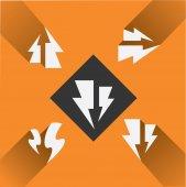 Black  lightning icons — Stock Vector
