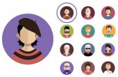 People icons  with faces. — Stock Vector