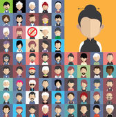 People icons in flat style with faces. — Stock Vector