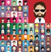 Conjunto de iconos de gente con caras. — Vector de stock
