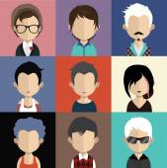 Sada ikon lidí s tvářemi. — Stock vektor