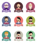 Set of people icons  with Mustache — Stock Vector