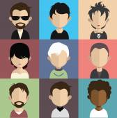 Set of people icons with faces. — Stock Vector