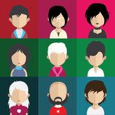 Zestaw ikon ludzi z twarzy. — Wektor stockowy