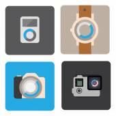 Mp3 player, watch, camera icons — Stock Vector