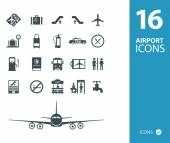 Travel airport icons — Stok Vektör
