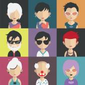 Set of people avatar icons — Stock Vector