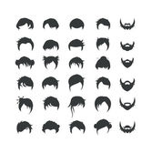 Set of hair and beard style icons — Stock Vector