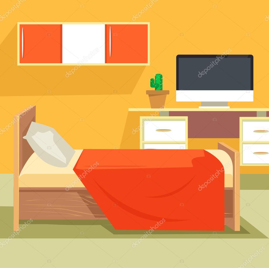 Bedroom Interior Design Set Furniture Vector ~ Bedroom interior design furniture