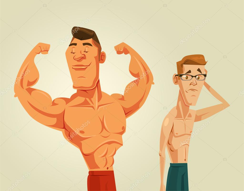 starke und schwache männer. vektor-flache cartoon-illustration