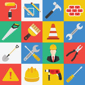 Vector flat working tools icons set. — Stock Vector