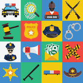 Vector flat icons set of police symbols — Stock Vector