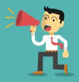 Business man cheer with a megaphone. Vector flat illustration — Stock Vector