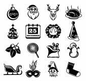 Vector Christmas black silhouette icon set — Stock Vector