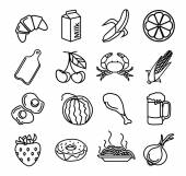 Vector food black icons set — Stock Vector