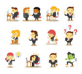 Office business people. Vector flat icon set — Stock Vector