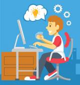 Stock vector color flat illustration of programmer — Stock Vector