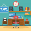 Vector flat workplace illustration icon set — Stock Vector #57757167