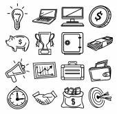 Vector business pictogram black icons — Stock Vector