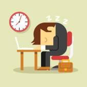 Sleeping businessman. Vector flat illustration — Stock Vector