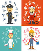 Professional men character. Vector flat illustration set — Stock Vector