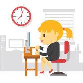 Office work woman. Vector flat illustration — Vector de stock