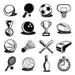 Vector Sport Equipment and Balls Black Icons Set — Stock Vector #58306645