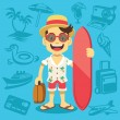 Happy handsome tourist mascot. — Stock Vector #58306741