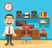 Office worker and his workplace — Stock Vector