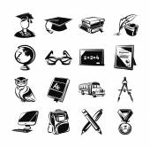Education black icons set — Stock Vector