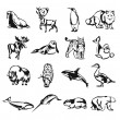 Northern animals vector black doodle outline pictogram icon set — Stock Vector #59764633