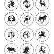 Zodiac signs vector outline icon set — Stock Vector #59764637