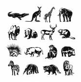 Animals vector black doodle outline icon set — Stock Vector