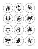 Zodiac signs vector outline icon set — Stock Vector