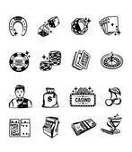 Vector casino black icon set — Stock Vector