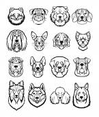 Vector dogs black icons set — Stock Vector
