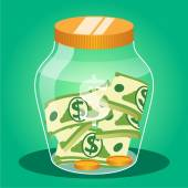 Money jar. Vector flat illustration — ストックベクタ