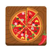 Pizza vector flat illustration — Stock Vector