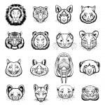 Vector predators animals black icon set — Stock Vector #63960027