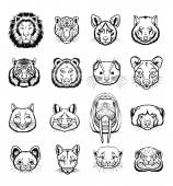 Vector predators animals black icon set — Stock vektor
