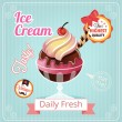 Ice cream vector banner illustration — Vector de stock  #64907673