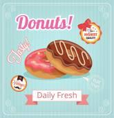 Donuts vector banner — Vector de stock