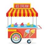 光沢のあるカラフルなアイスクリームのカートのベクトル図 — ストックベクタ #65721613