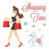 Elegant cute women with shopping bags and poodle vector illustration — 图库矢量图片
