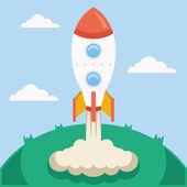 Vector rocket launch vector illustration — Stockvektor