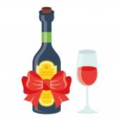 Wine bottle with red festive bow and glass of wine — Vector de stock
