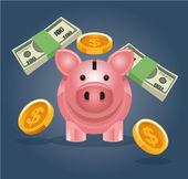 Vector piggy bank illustration — Stock Vector