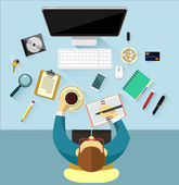 Vector workplace flat illustration — Stock Vector